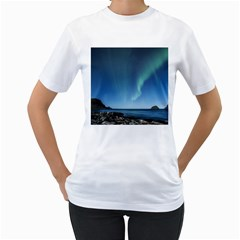 Aurora Borealis Lofoten Norway Women s T Shirt (white) (two Sided)