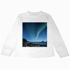 Aurora Borealis Lofoten Norway Kids Long Sleeve T Shirts