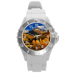 Colorado Fall Autumn Colorful Round Plastic Sport Watch (l)