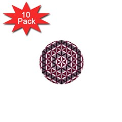 Flower Of Life Pattern Red Grey 01 1  Mini Buttons (10 Pack)  by Cveti