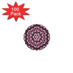 Flower Of Life Pattern Red Grey 01 1  Mini Buttons (100 Pack)  by Cveti