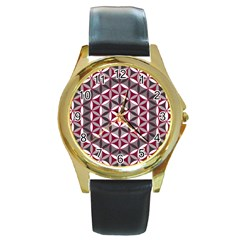 Flower Of Life Pattern Red Grey 01 Round Gold Metal Watch by Cveti