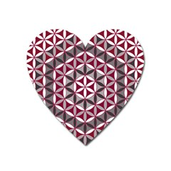 Flower Of Life Pattern Red Grey 01 Heart Magnet by Cveti