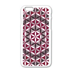 Flower Of Life Pattern Red Grey 01 Apple Iphone 6/6s White Enamel Case by Cveti