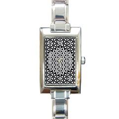 Flower Of Life Pattern Black White 1 Rectangle Italian Charm Watch by Cveti