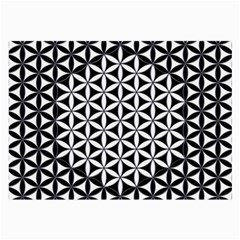 Flower Of Life Pattern Black White 1 Large Glasses Cloth by Cveti