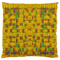 Rainbow Stars In The Golden Skyscape Large Flano Cushion Case (two Sides) by pepitasart