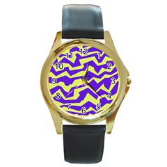 Polynoise Vibrant Royal Round Gold Metal Watch by jumpercat