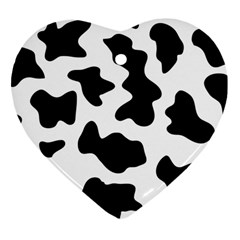 Animal Print Black And White Black Heart Ornament (two Sides)
