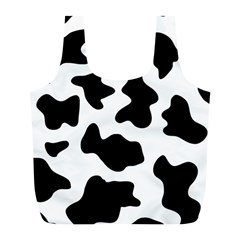 Animal Print Black And White Black Full Print Recycle Bags (l)