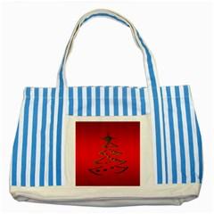 Christmas Striped Blue Tote Bag
