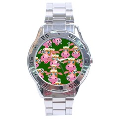 Seamless Tile Repeat Pattern Stainless Steel Analogue Watch