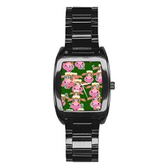 Seamless Tile Repeat Pattern Stainless Steel Barrel Watch
