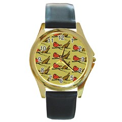 Animal Nature Wild Wildlife Round Gold Metal Watch