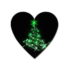 Christmas Tree Background Heart Magnet by BangZart