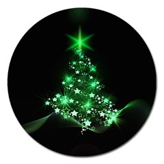 Christmas Tree Background Magnet 5  (round) by BangZart