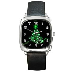 Christmas Tree Background Square Metal Watch