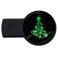 Christmas Tree Background Usb Flash Drive Round (4 Gb)
