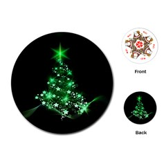 Christmas Tree Background Playing Cards (round)  by BangZart