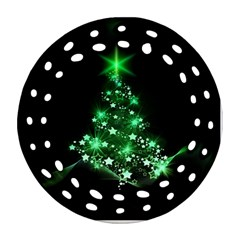 Christmas Tree Background Round Filigree Ornament (two Sides)