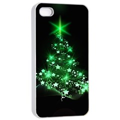 Christmas Tree Background Apple Iphone 4/4s Seamless Case (white)