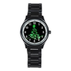 Christmas Tree Background Stainless Steel Round Watch by BangZart