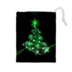 Christmas Tree Background Drawstring Pouches (large)