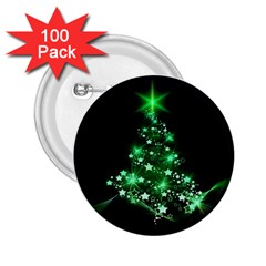 Christmas Tree Background 2 25  Buttons (100 Pack)