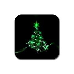 Christmas Tree Background Rubber Coaster (square)