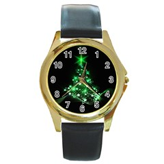 Christmas Tree Background Round Gold Metal Watch