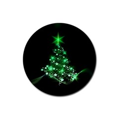Christmas Tree Background Rubber Coaster (round)