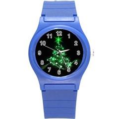 Christmas Tree Background Round Plastic Sport Watch (s)