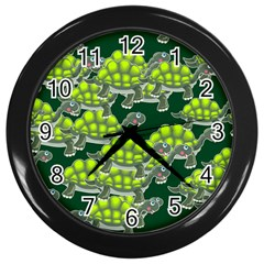 Seamless Tile Background Abstract Wall Clocks (black)