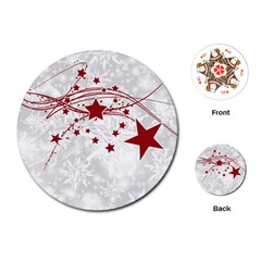 Christmas Star Snowflake Playing Cards (round)