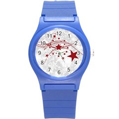 Christmas Star Snowflake Round Plastic Sport Watch (s) by BangZart
