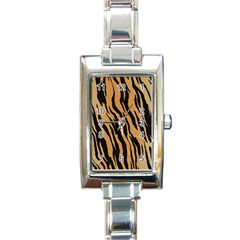 Animal Tiger Seamless Pattern Texture Background Rectangle Italian Charm Watch