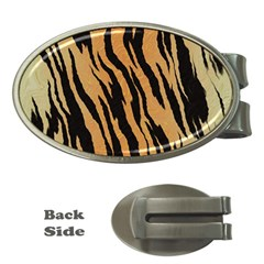 Animal Tiger Seamless Pattern Texture Background Money Clips (oval)