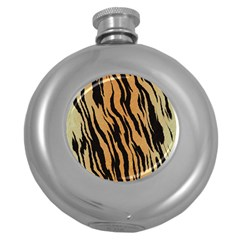 Animal Tiger Seamless Pattern Texture Background Round Hip Flask (5 Oz)