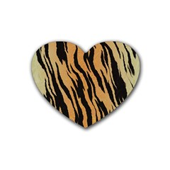 Animal Tiger Seamless Pattern Texture Background Rubber Coaster (heart)