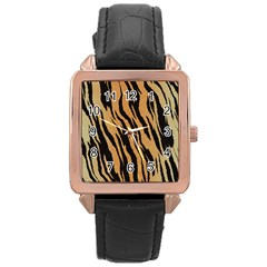 Animal Tiger Seamless Pattern Texture Background Rose Gold Leather Watch