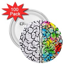 Brain Mind Psychology Idea Hearts 2 25  Buttons (100 Pack)