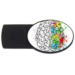 Brain Mind Psychology Idea Hearts Usb Flash Drive Oval (4 Gb)