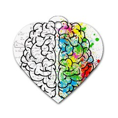 Brain Mind Psychology Idea Hearts Dog Tag Heart (two Sides)