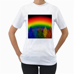 Christmas Colorful Rainbow Colors Women s T Shirt (white) (two Sided)