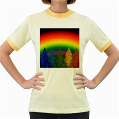 Christmas Colorful Rainbow Colors Women s Fitted Ringer T Shirts