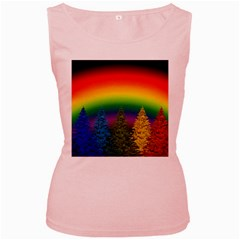 Christmas Colorful Rainbow Colors Women s Pink Tank Top