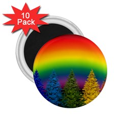 Christmas Colorful Rainbow Colors 2 25  Magnets (10 Pack)