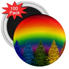 Christmas Colorful Rainbow Colors 3  Magnets (100 Pack)