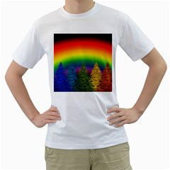 Christmas Colorful Rainbow Colors Men s T Shirt (white) (two Sided)