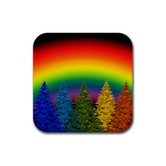 Christmas Colorful Rainbow Colors Rubber Square Coaster (4 Pack)  by BangZart